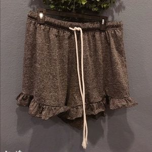 SHEIN dark gray ruffle elastic shorts 1XL